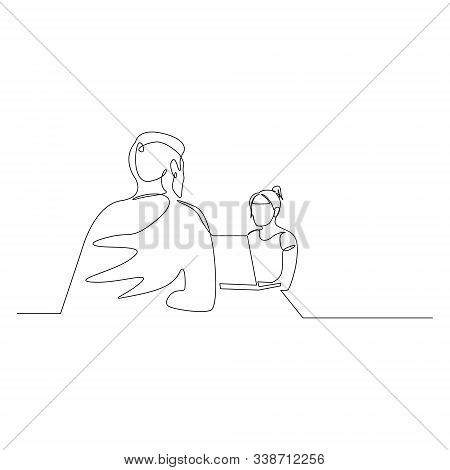 Continuous One Line Woman Is Interviewing A Man. Job Interview. Vector Illustration.