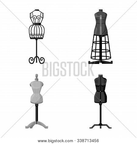 Vector Illustration Of Mannequin And Fashion Sign. Set Of Mannequin And Manikin Vector Icon For Stoc