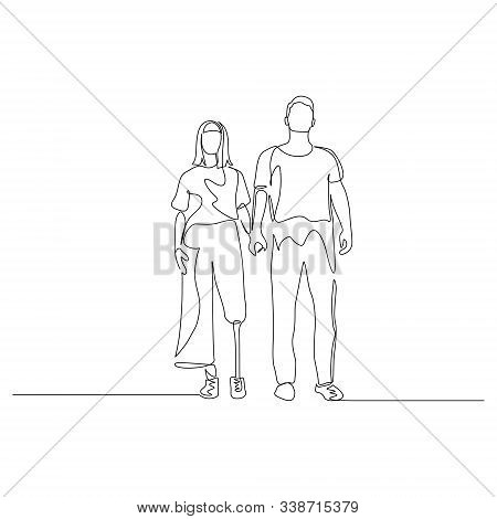 Continuous One Line Man And Woman Hold Hands, A Woman Has A Prosthetic Leg. Disabled People. Vector