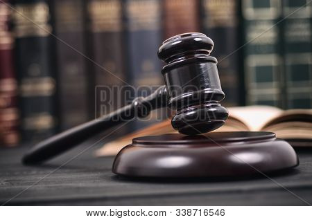 Law And Justice , Legality Concept, Judge Gavel And Law Book On A Black Wooden Background, Law Libra