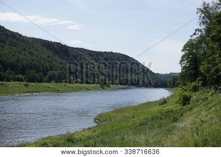 The Elbe River Between Kurort Rathen And Stadt Wehlen In Saxon Switzerland, Germany