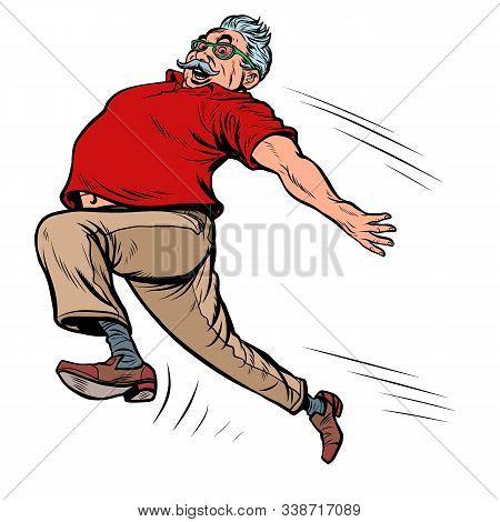 Old Man Grandpa Runs. Pop Art Retro Vector Illustration Kitsch Vintage Drawing