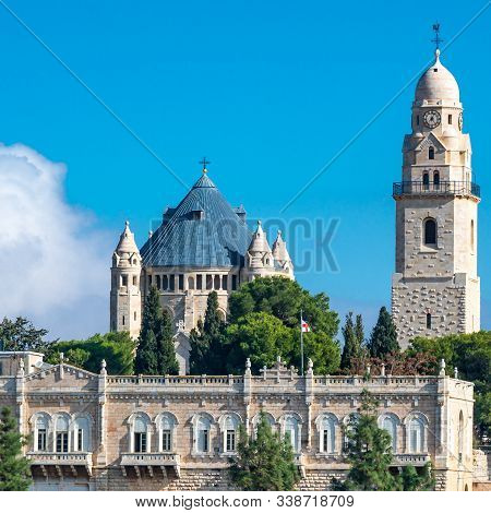 Jerusalem, Israel / 10 Dec 2019: Dormition Abbey On Mount Zion In Jerusalem, Just Outside Zion Gate,