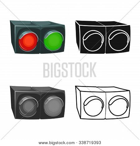 Vector Illustration Of Stoplight And Signal Sign. Web Element Of Stoplight And Lamp Stock Symbol For