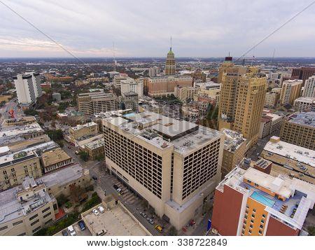 Aerial view of San Antonio downtown skyline including Tower Life Building, San Antonio, Texas, TX, USA.