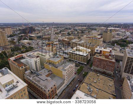 Aerial view downtown buildings in San Antonio, Texas, TX, USA.