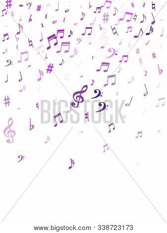 Red Flying Musical Notes Isolated On White Background. Cute Musical Notation Symphony Signs, Notes F