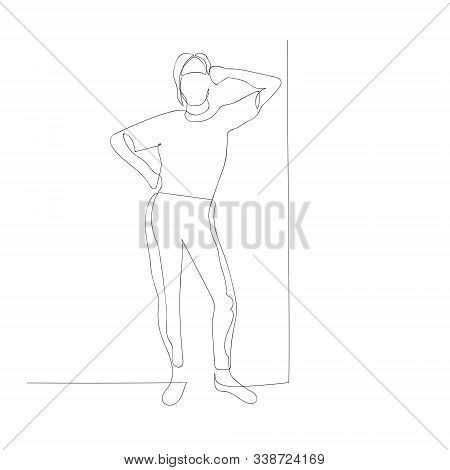 Continuous One Line Woman Lean Her Elbow Against Wall. Vector Illustration.