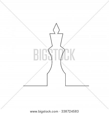 Continuous One Line Chess Piece Or Chessman, King. Vector Illustration.