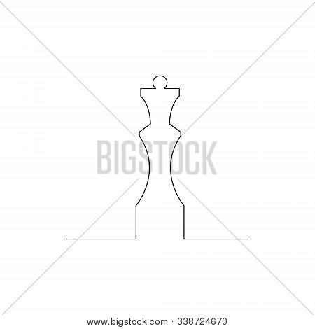 Continuous One Line Chess Piece Or Chessman, Queen. Vector Illustration.