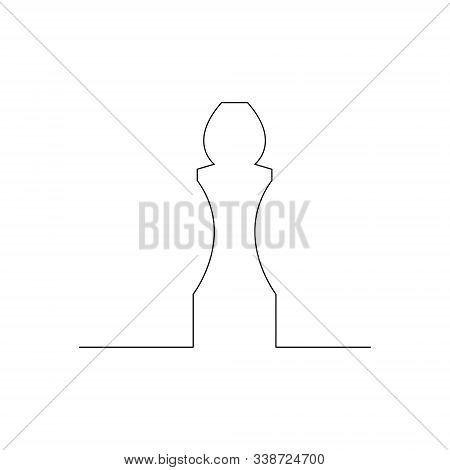 Continuous One Line Chess Piece Or Chessman, Bishop Or Elephant. Vector Illustration.