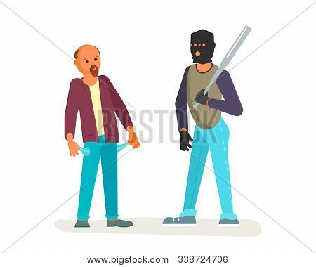 A Robber In Black Mask With A Baseball Bat Is Threatening To A Man On The Street. Frightened Charact