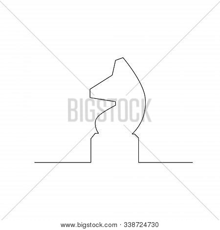 Continuous One Line Chess Piece Or Chessman, Knight Or Horse. Vector Illustration.