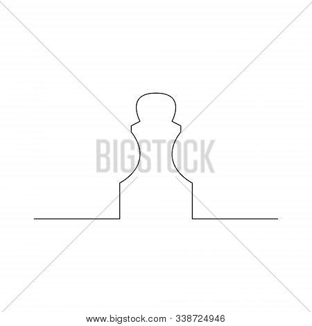Continuous One Line Chess Piece Or Chessman, Pawn. Vector Illustration.