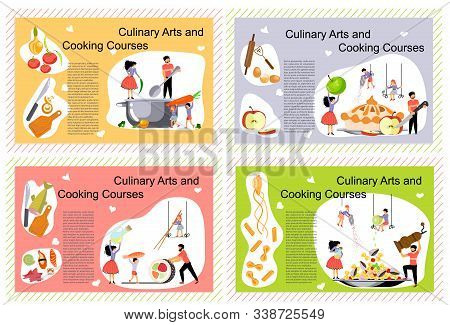 Set Of Landing Page Templates Of Culinary Art And Cooking Courses. Happy Family Cooking Together Con