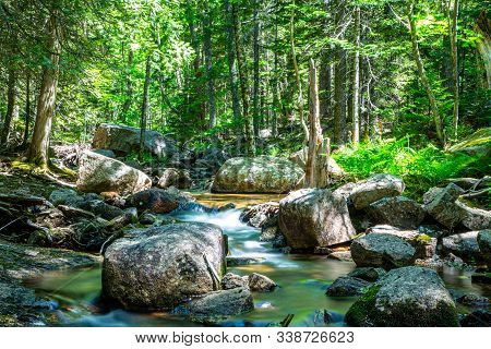 A Rocky Stream With Flowing Water Along A Hiking Path In Acadia National Par, Maine, Usa