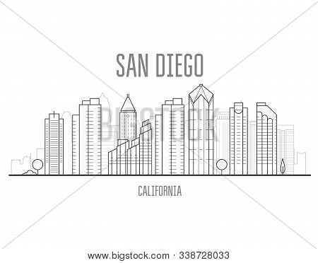 San Diego Cityscape With Skyscrapers And Landmarks Of San Diego, City Skyline
