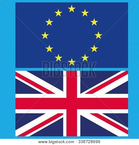 Flag Of The European Union And Great Britain. Vector Illustration Of The Split Of The European Union