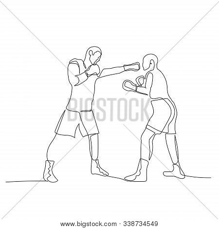 Continuous One Line Boxing Sparring. Boxer Strikes Straight. Vector Illustration.