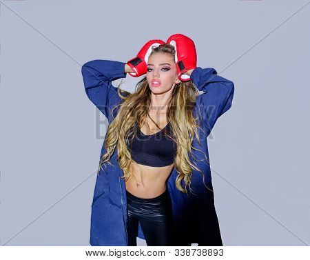 Woman Boxer With Gloves. Sporty Sexy Girl In Boxing Gloves. Young Beautiful Boxer Girl In Boxing Glo