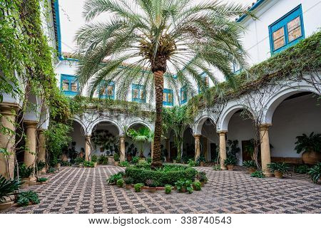 Courtyard Garden Of Viana Palace In Cordoba, Andalusia, Spain. Built In Xv Century. Viana Palace Is