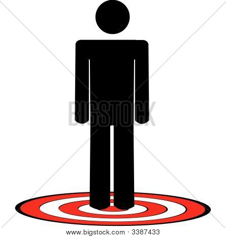 Stick Man Standing On Target.