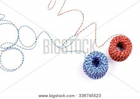 Two Color Clews On The White Isolated Background.