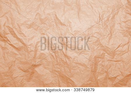 Texture Of Old Rumpled Weathered Dirty Plastic Orange Color For Background