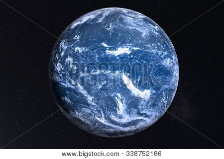 Earth Planet Of Solar System With After The Flood White Atmosphere In Outer Space. Global Disaster C