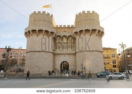 Valencia, Spain - Novemer 27, 2019: View Of Torres De Serranos An Old Gate In Valencia, Spain