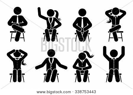 Sitting On Chair Stick Figure Business Man And Woman Different Poses Pictogram Vector Icon Set. Male