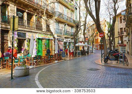 Valencia, Spain - November 28, 2019: Barrio Del Carmen Neighborhood In Valencia, Spain