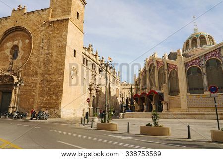 Mercat Central (central Market) And Church Of The Saints John In Valencia, Spain