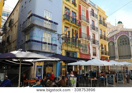 Valencia, Spain - November 27, 2019: Tourists Having Lunch In Restaurants Outdoor Mercat Central (ce