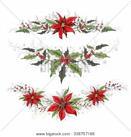 Floral Elements Of Poinsettia And Holly. Realistic Doodling Hand Drawn Isolated On White Background.