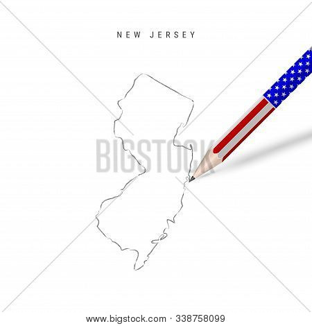 New Jersey Us State Vector Map Pencil Sketch. New Jersey Outline Contour Map With 3d Pencil In Ameri