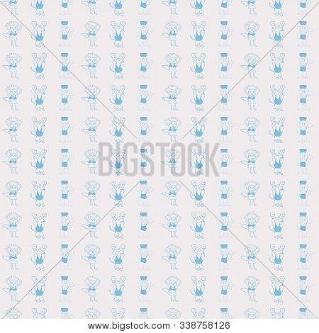 Vector White Pastel Stripes Vertical Anthropomorphic Characters Seamless Pattern Background