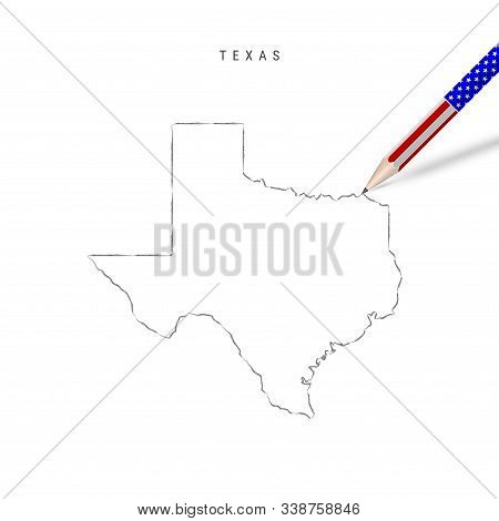 Texas Us State Vector Map Pencil Sketch. Texas Outline Contour Map With 3d Pencil In American Flag C