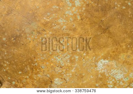 Old Copper Sheet Surface Texture With Patina Spots Of Oxidation