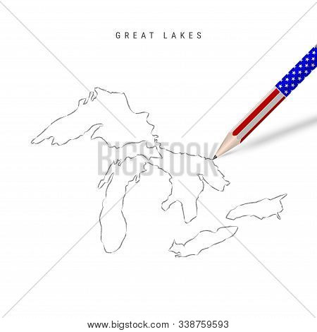 All Of The Great Lakes Vector Map Pencil Sketch. Superior, Michigan, Huron, Erie, And Ontario Outlin