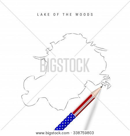 Lake Of The Woods Vector Map Pencil Sketch. Lake Of The Woods Outline Contour Map With 3d Pencil In