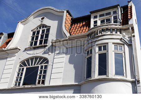 Part Of Old White Stately Stone House In Rodby, Denmark