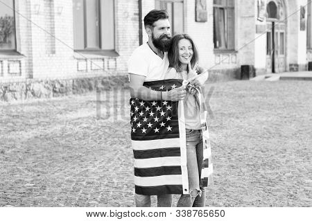 Emigration From The Native Country. Happy Couple Of Emigrants On Independence Day Of The Us. Emigrat