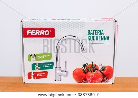 Pruszcz Gdanski, Poland - October 28, 2019: New Ferro Kitchen Faucet In Box.