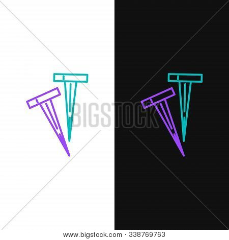 Green And Purple Line Pegs For Tents Icon Isolated On White And Black Background. Extreme Sport. Spo