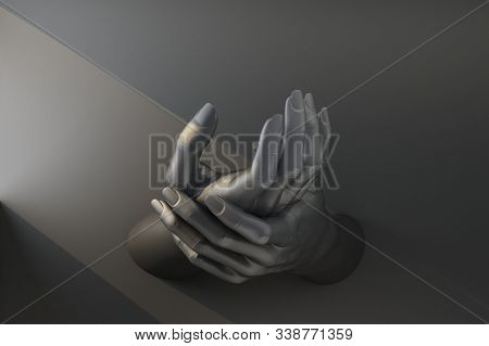 Black Hand Supports Self Hand. 3d Rendering