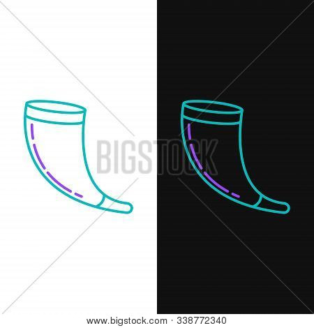 Green And Purple Line Traditional Ram Horn, Shofar Icon Isolated On White And Black Background. Rosh