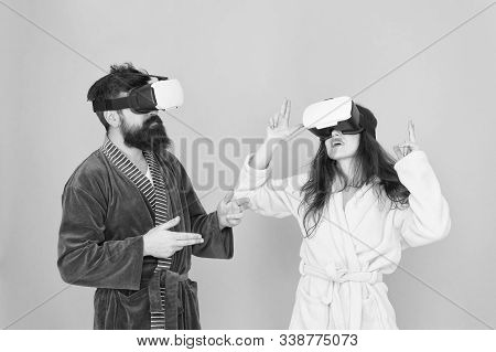 Family Couple Wear Vr Glasses. Girl And Man Hipster Relax In Bathrobe. Morning Start With Future Tec
