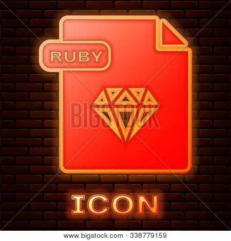 Glowing Neon Ruby File Document. Download Ruby Button Icon Isolated On Brick Wall Background. Ruby F