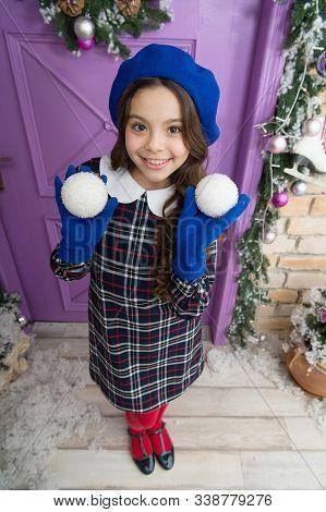 Yuletide Treasure. Winter Holiday Activity. Christmas Shopping. Small French Girl. Kid Decorative Xm
